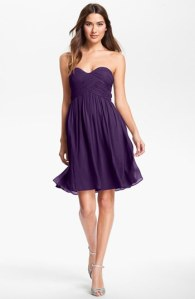 Donna Morgan Strapless Silk Chiffon Dress