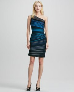 Halston Heritage One Shoulder Striped Dress