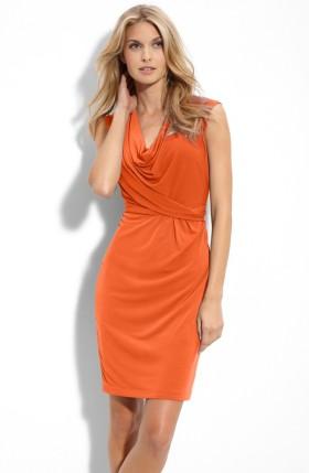 Cowl Neck Matte Jersey Dress