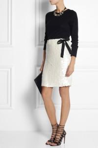 Floral Sequin Silk Skirt