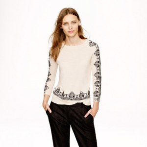 JCrew Embroidered Lace Sweater