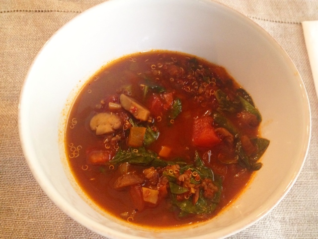 Spicy Quinoa, Mushroom and Spinach Soup