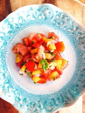Grapefruit and Grape Tomato Salsa