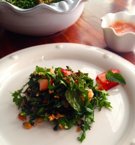 Kale Salad with Strawberry Vinaigrette