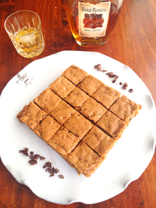 Chocolate Bourbon Blondies with Four Roses Bourbon