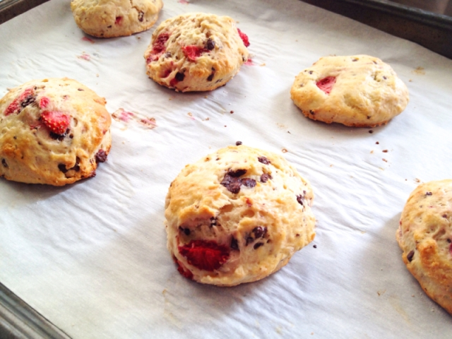 Dark Chocolate Strawberry Scones