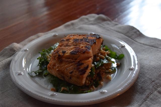 Kale and Farro Salad with Feta and Lemon