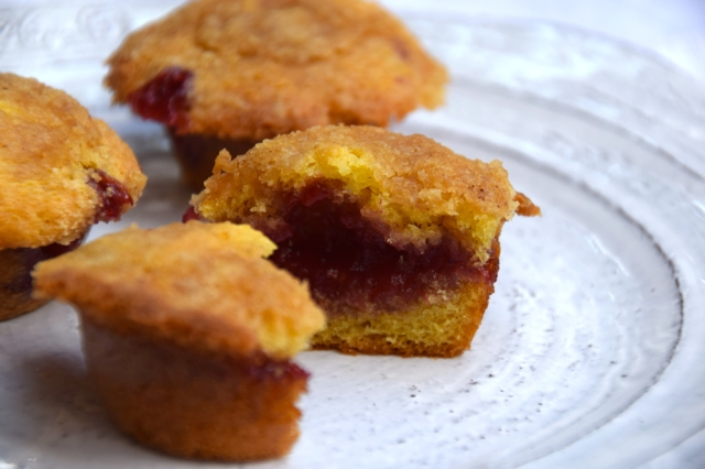 Coffee Cake Mini Muffins with Raspberry Jam Filling