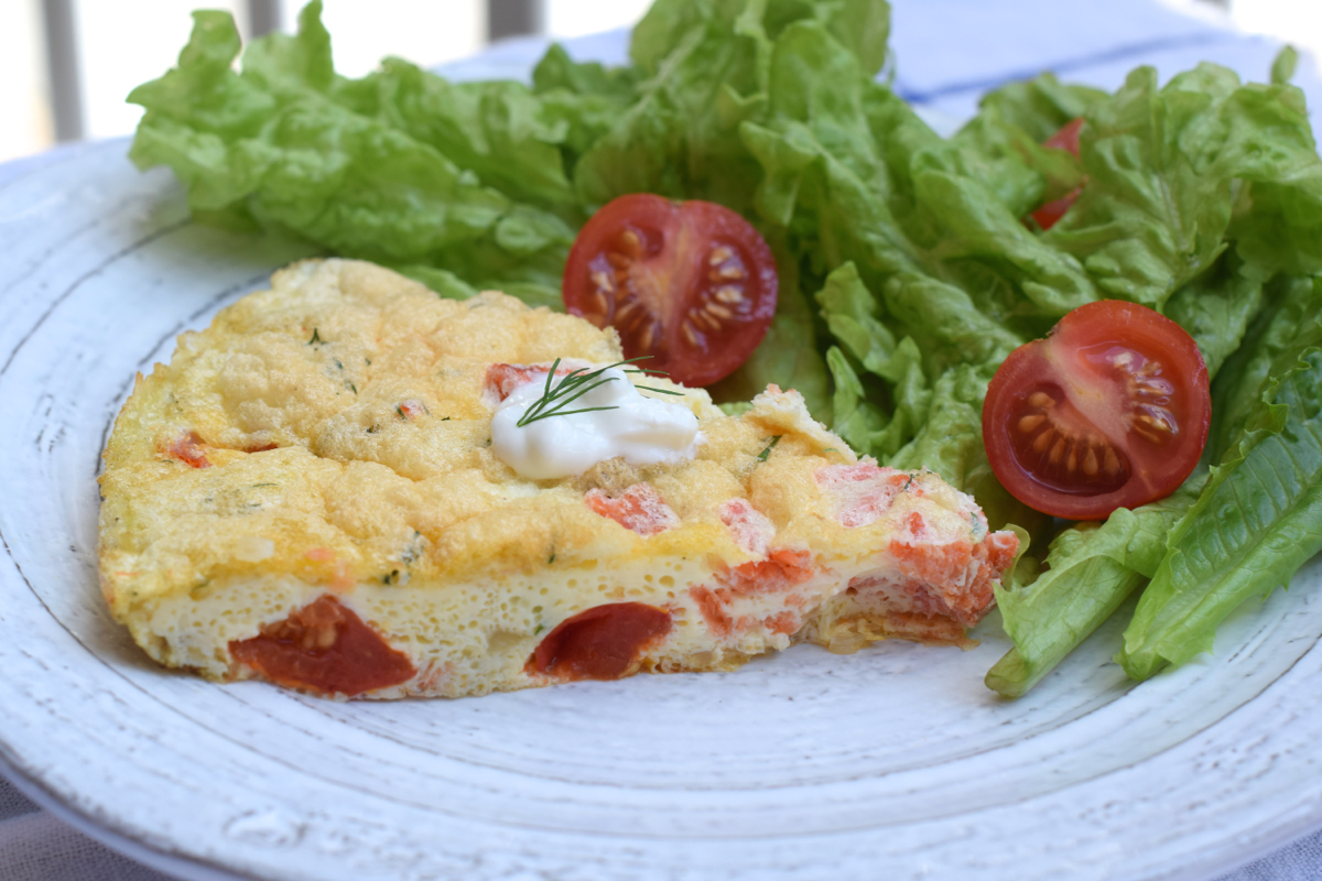 Smoked Salmon Frittata with Cherry Tomatoes and Goat Cheese | Georgia ...
