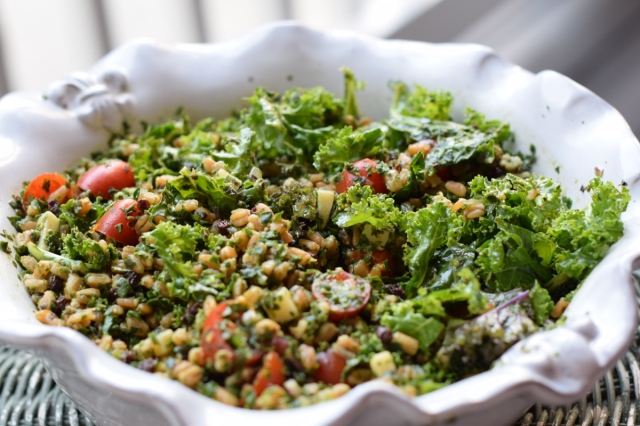 Farro and Kale Salad with Currants, Parmesan and Lemon Dressing